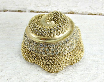 Vintage Designer LES BERNARD Brooch Pin, Large Domed Gold Spiral Sea Shell, Pave Rhinestone Crystals, 1960s Retro High End Cosume Jewelry
