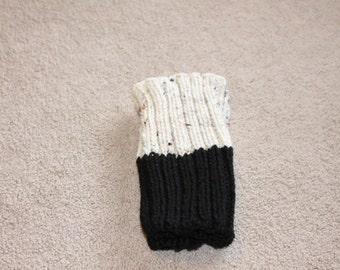 Hand Knit Boot Cuffs, Two in One Boot Cuffs, Boot Toppers. Leg Warmers  Black-Oatmeal Fleck