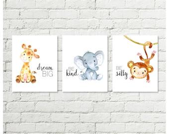 Boys Safari Nursery Print, Giraffe Dream Big, Blue Elephant Be Kind, Monkey Be Silly Baby Shower Gift Printable Wall Art 8x10 Download