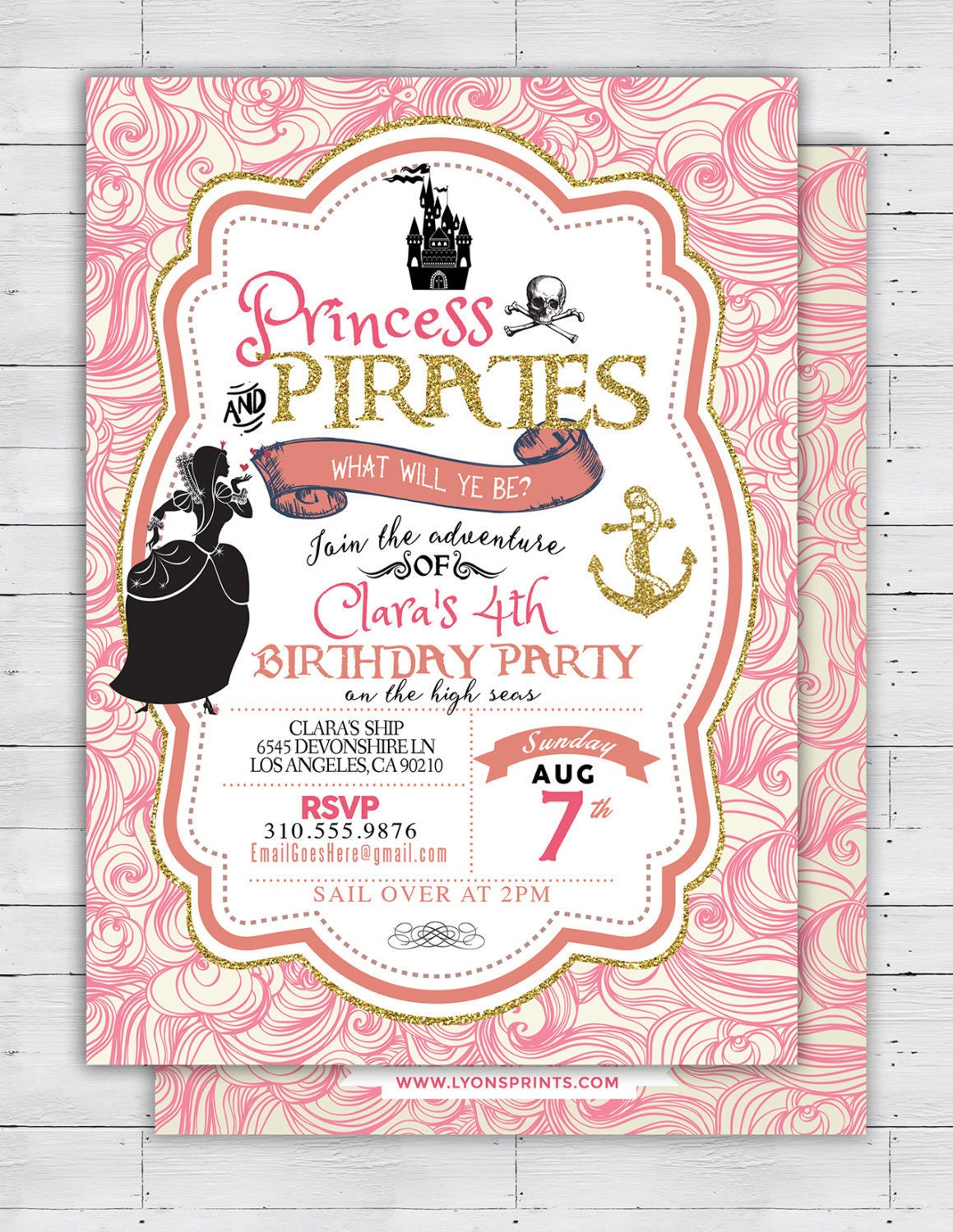 Pirate And Princess Birthday Invitations Image collections ...