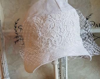Vintage Style White Linen Veiled Cloche