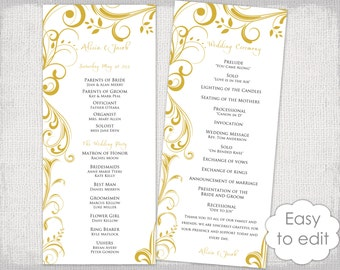 Wedding Program Template Calligraphy Black White Printable - Wedding invitation templates: wedding program template word