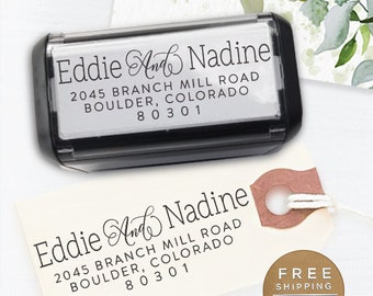 Custom Address Stamp, Return Address Stamp, Wedding address stamp, Calligraphy Address Stamp, Self inking Stamp  - Nadine