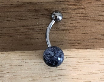 Marble Black Ball Acrylic Belly Button Ring Navel Body Piercing Jewelry