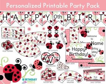 Ladybug Party Personalized Decoration Kit/ Ladybug Printables/ Ladybirds, Flowers/ Downloadable DIY Package/ Digital Download/ PDF File