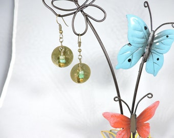 Bronze disc with 3 bead earrings