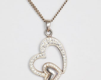 Two Sparkling Hearts Silver Pendant on Necklace/ Chain