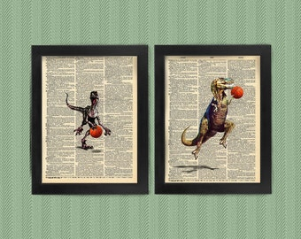 T Rex, Velociraptor Basketball, Dinosaur, art print, dictionary Art, Book Art, wall Decor, Wall Art Mixed Media Collage