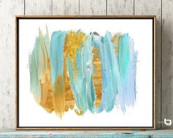 Abstract Watercolor Print, Abstract Watercolor Wall Art, Watercolor Art, Giclee Abstract Watercolor Print, Light Blue Gold Watercolor Print