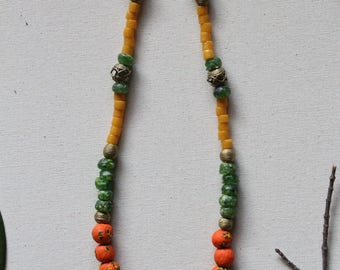 Orange Green and Yellow Krobo Bead Necklace,  African Fair Trade, Brass Bead, Tribal, Ethnic, Afrocentric Handmade Glass Beads