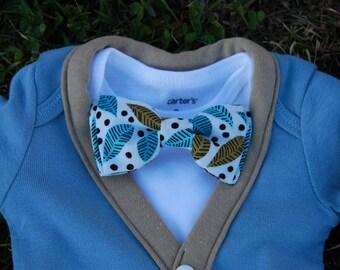 Baby Boy Cardigan Onesie and Bow Tie Set
