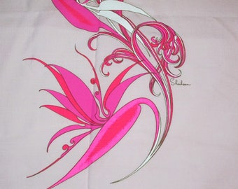 Vintage 1960s Alfred Shaheen BIRD of PARADISE Double Panel Pink Flower Linen Fabric