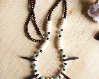 Handmade African Inspired Beaded Jewelry, Statement Necklace, Mint Colored Long Wooden Jewelry, Unique Jewelry Gift for Woman
