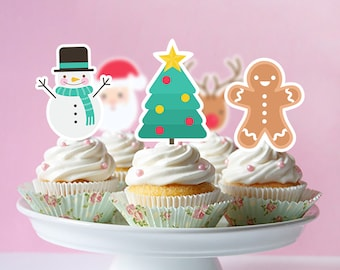 Merry Christmas Cupcake Toppers, Merry Christmas Printable Cupcake Topper, Merry Christmas Party Supplies, Merry Christmas Cake | MME_FULL