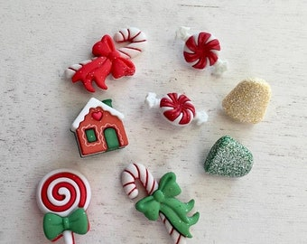 """SALE Christmas Candy and Sweets Buttons, Novelty Button Package by Buttons Galore, """"Holiday Sweets"""" Style 4790, Assortment Pack"""