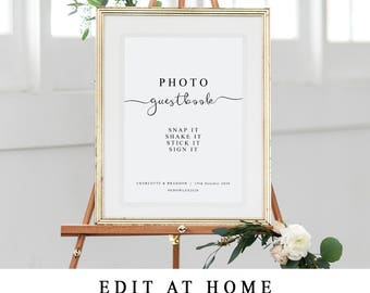 DIY Wedding Photo Guestbook Sign, Instant Photo Guest Book Template, Photo Sign Printable, Reception Signage, Snap it Shake it Stick it Sign