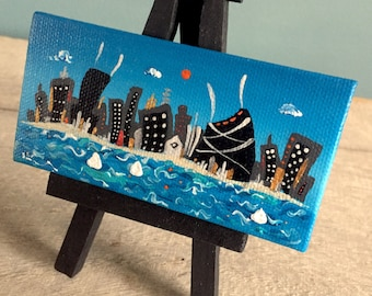 Chicago skyline,  tiny painting,   on easel, hand painted, ooak, 2x4, ready to ship, mini,  blue, waves, lake, Summer, Smigielski