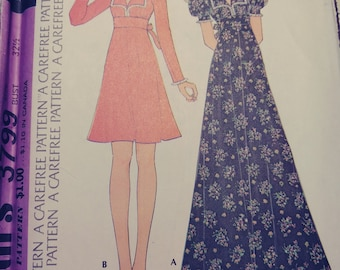 Baby Doll Style Maxi or Knee Length Dress, McCall's 3799, SIze 10, Vintage 1973, Uncut, Complete