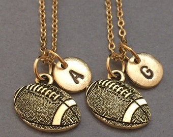 Best friend necklace, football necklace, sports necklace, personalized necklace, initial necklace, monogram