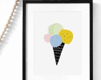 Pastel nursery print, Mini Learners, wall art print, Scandinavian art, nursery art, minimalist decor, kids wall art, Ice cream nursery decor