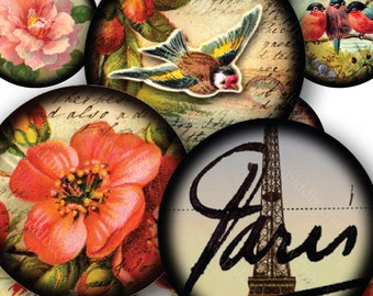 Towers and Flowers Two in One Digital Collage Sheet 30 mm circles French Ephemera AND Flora & Fauna Vintage Birds Eiffel Tower piddix 869