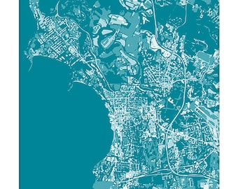 Burlington VT Cityscape Art Print / Vermont Map Wall Art UVM Grad Gift / 8x10 / Personalized