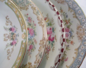 China Saucers Mismatched, Tea Party, Wedding, Garden Party, Cottage Chic, Bridal Luncheon, Shower Gift - Set of 4