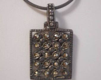 Vintage Signed Roman Marcasite Square Pendant Sterling Silver Cable Necklace