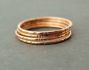 Rose Gold Rings thin gold rings delicate notched pattern pink gold stacking rings