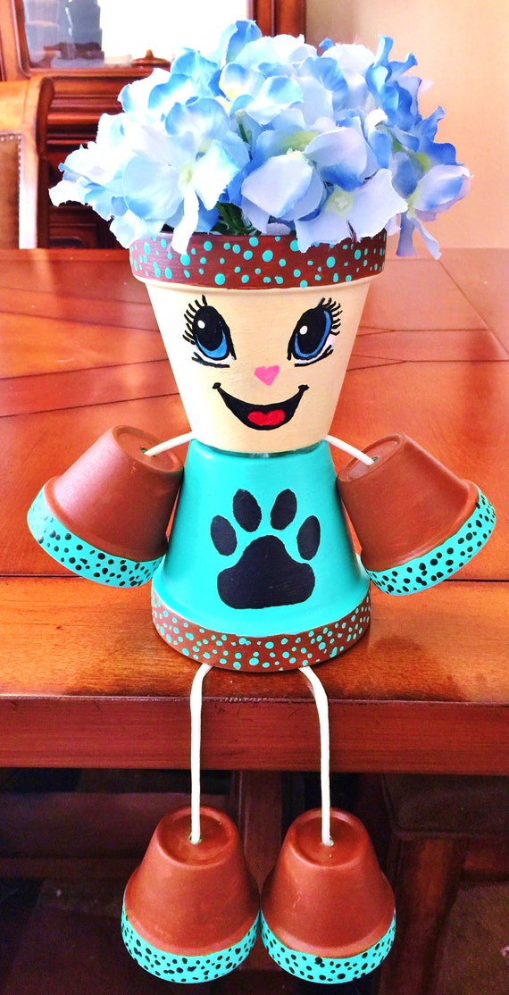 Brown Turquoise Paw Print Candy Flower Dots Clay Pot Head People Terra Cotta