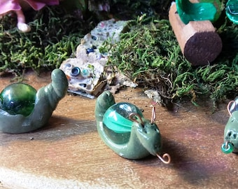 """3x Tiny Handmade Clay and Marble Garden Snails. About 1""""-1.5"""" long."""