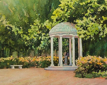 Painting of Old Well- University of North Carolina (UNC) Chapel Hill, NC.  Chapel Hill watercolor.  Art Chapel Hill UNC landscape painting