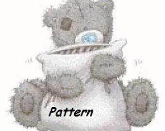 Teddy bear #8. (with a pillow) Cross Stitch Pattern. PDF Files.