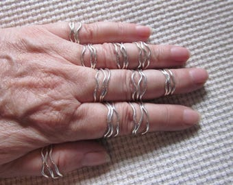 Sterling silver stack rings, set of 3, sterling silver wave rings, set of three, ready to ship, sizes 5 - 9