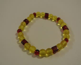 Red and Yellow Stretch Beaded Bracelet