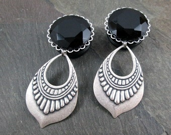 "Dangle Plugs - 7/8"" 22mm - 1"" 25mm - Gothic Gauges - Tribal Plugs - Gothic Drop Plugs - Plug Earrings - Wedding Gauges - Gothic Jewelry"