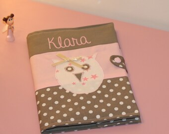 Health Book powder pink er taupe with OWL personalized with name
