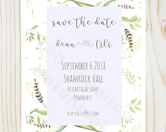 Save the Date Cards, Wedding Invitation Template, Leafy Design, Customized Cards, Neutral Colors, Personalized Save the Date Wedding Cards