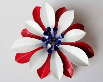Vintage Flower Brooch - Red White and Blue - Large and Bold 3D