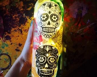 Skulls, Skull Art, Dia De Los Muertos, Skull Candy, Wine Bottle, Wine Bottle Lamp, Wine Bottle Light, Lit Wine Bottle, Skull Design