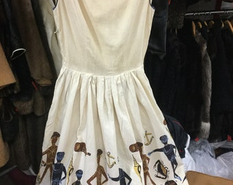 Novelty Border Print Anchors Nautical 1950's Dress