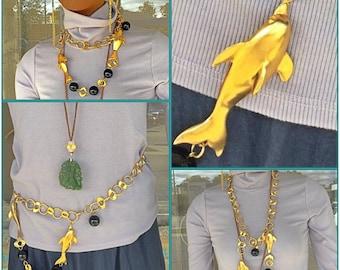 Vintage ugo correani designer dolphin necklace belt 1980s runway statement jewelry