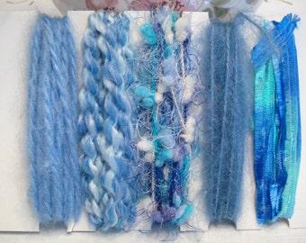 Specialty yarn art fiber embellishment bundle, blue ice princess