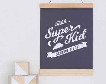 Superhero art print, canvas banner wall hanging, Super Kid Sleeps Here, art prints for kids, monochromatic kids art, superhero wall hanging