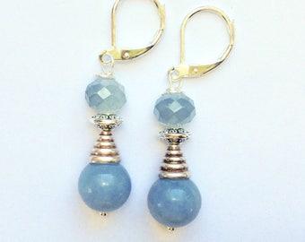 Blue Beaded Earrings On Silver Leverbacks