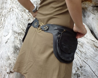 Utility Belt Leather Belt Bag Hip in Black Pocket Festival Double Ring Belt