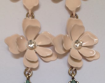 Pierced Earrings Dangling Pink Flowers & Rhinestones