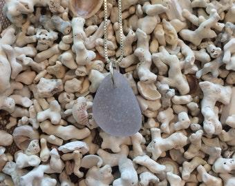 Purple seaglass pendant