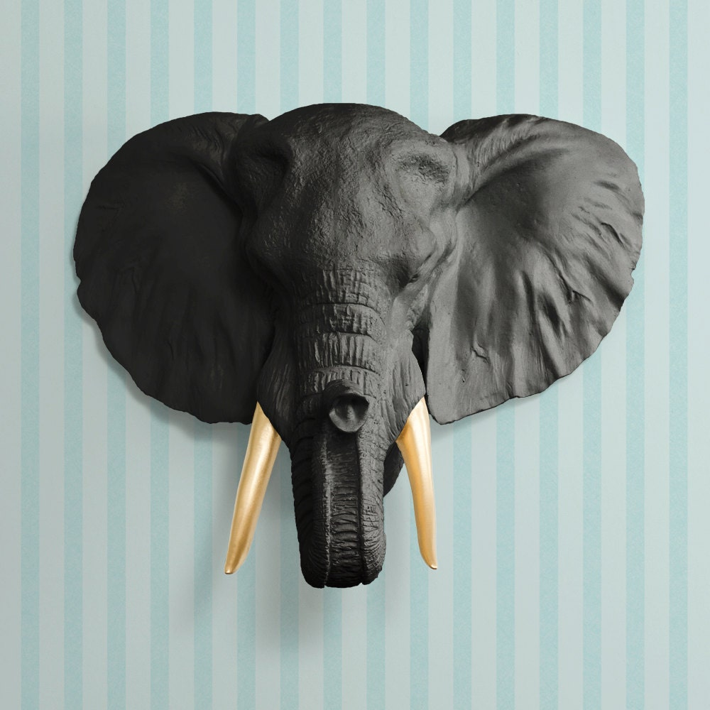 The Savannah in Black Gold Tusk Faux Elephant Head