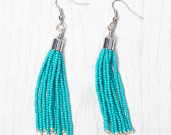 Turquoise with Galvanised Silver accent Tassel Earring, Seed Beads Drop Earring, Handmade in Nepal, Beaded earring with tassel
